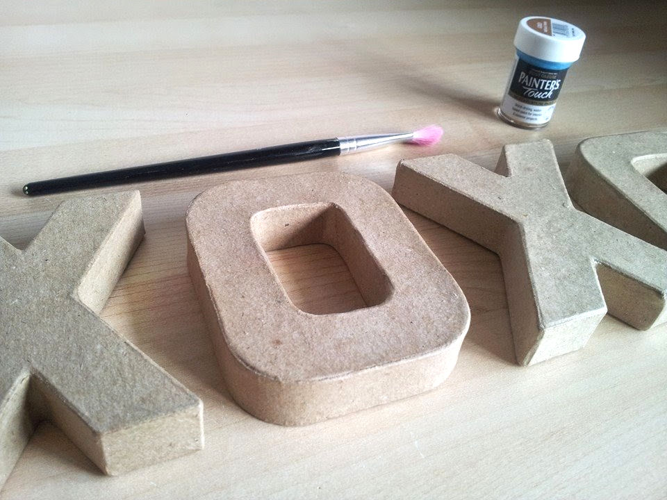 Do it yourself xoxo letter art oh my im inspired cardboard letter paint and paintbrush solutioingenieria Images
